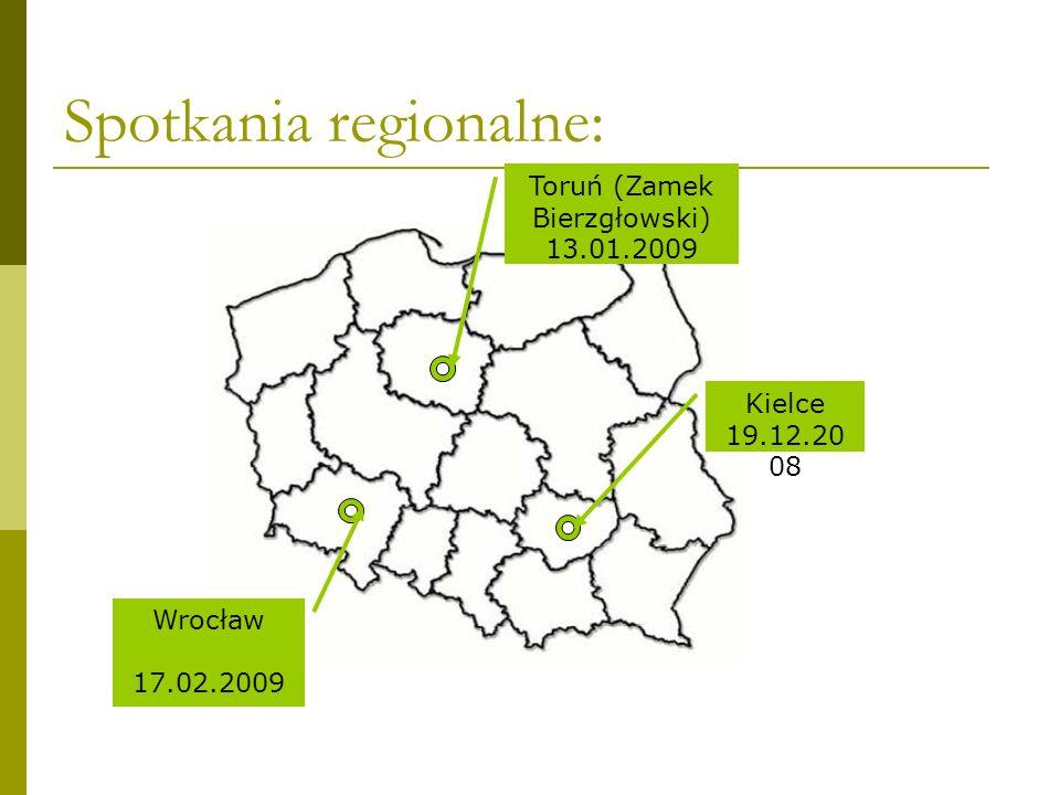 Spotkania regionalne: Wrocław 17.02.2009 Toruń (Zamek Bierzgłowski) 13.01.2009 Kielce 19.12.20 08