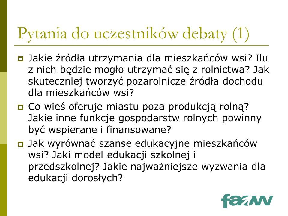 Pytania do uczestników debaty (1)  Jakie źródła utrzymania dla mieszkańców wsi.