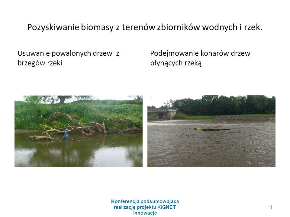 Pozyskiwanie biomasy z terenów zbiorników wodnych i rzek. Usuwanie powalonych drzew z brzegów rzeki Podejmowanie konarów drzew płynących rzeką Konfere