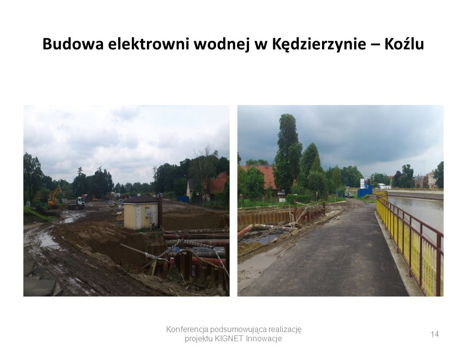 Budowa elektrowni wodnej w Kędzierzynie – Koźlu Konferencja podsumowująca realizację projektu KIGNET Innowacje 14