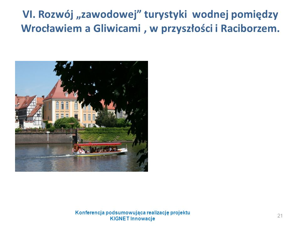 """VI. Rozwój """"zawodowej"""" turystyki wodnej pomiędzy Wrocławiem a Gliwicami, w przyszłości i Raciborzem. Konferencja podsumowująca realizację projektu KIG"""