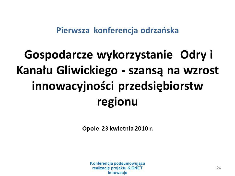 Pierwsza konferencja odrzańska Gospodarcze wykorzystanie Odry i Kanału Gliwickiego - szansą na wzrost innowacyjności przedsiębiorstw regionu Opole 23 kwietnia 2010 r.
