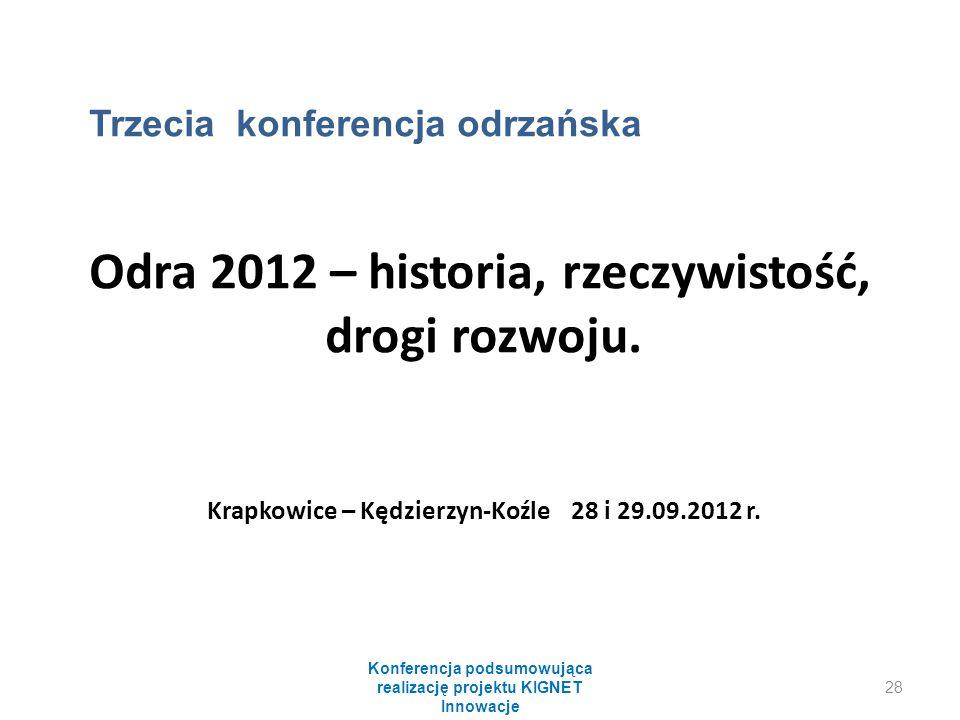 Konferencja podsumowująca realizację projektu KIGNET Innowacje 28 Trzecia konferencja odrzańska Odra 2012 – historia, rzeczywistość, drogi rozwoju.