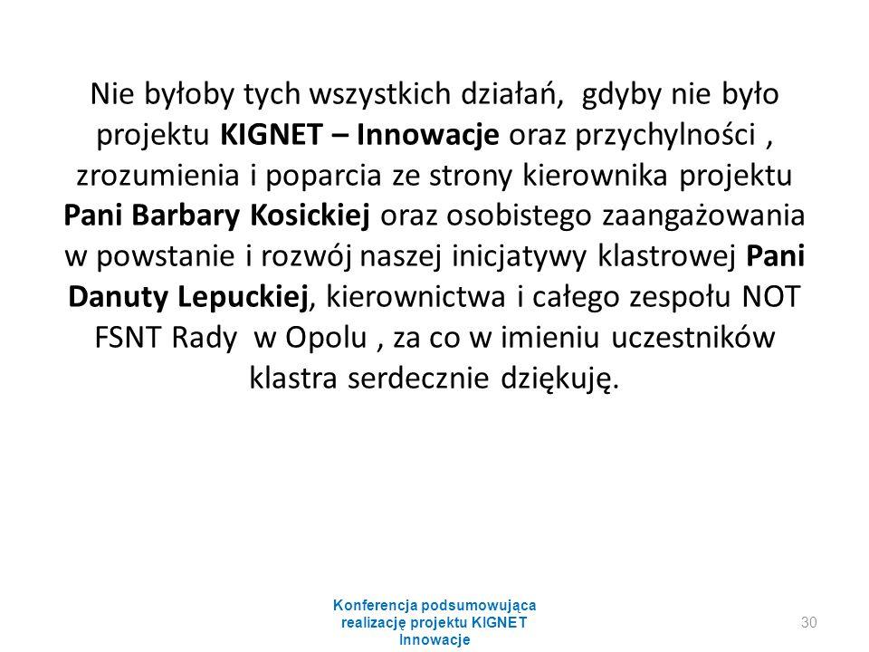 Nie byłoby tych wszystkich działań, gdyby nie było projektu KIGNET – Innowacje oraz przychylności, zrozumienia i poparcia ze strony kierownika projektu Pani Barbary Kosickiej oraz osobistego zaangażowania w powstanie i rozwój naszej inicjatywy klastrowej Pani Danuty Lepuckiej, kierownictwa i całego zespołu NOT FSNT Rady w Opolu, za co w imieniu uczestników klastra serdecznie dziękuję.
