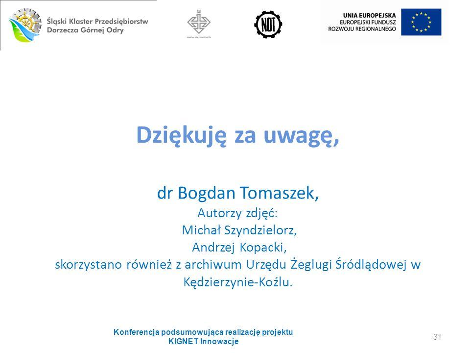 Dziękuję za uwagę, dr Bogdan Tomaszek, Autorzy zdjęć: Michał Szyndzielorz, Andrzej Kopacki, skorzystano również z archiwum Urzędu Żeglugi Śródlądowej w Kędzierzynie-Koźlu.