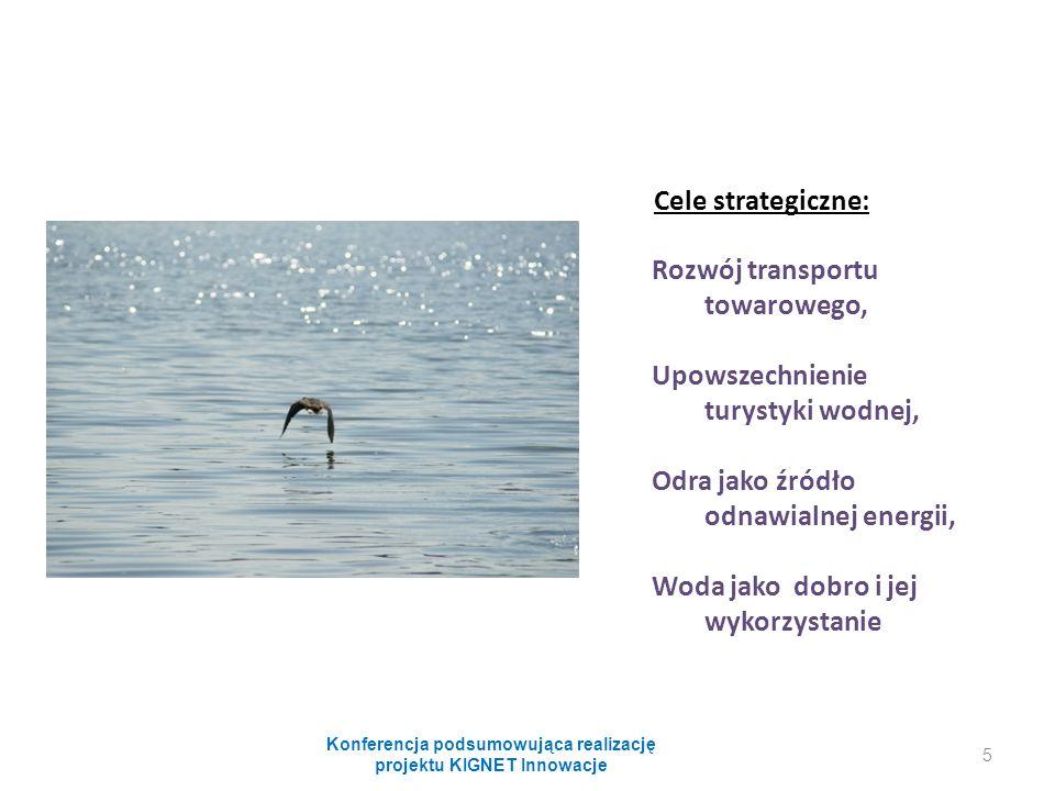 Cele strategiczne: Rozwój transportu towarowego, Upowszechnienie turystyki wodnej, Odra jako źródło odnawialnej energii, Woda jako dobro i jej wykorzystanie Konferencja podsumowująca realizację projektu KIGNET Innowacje 5