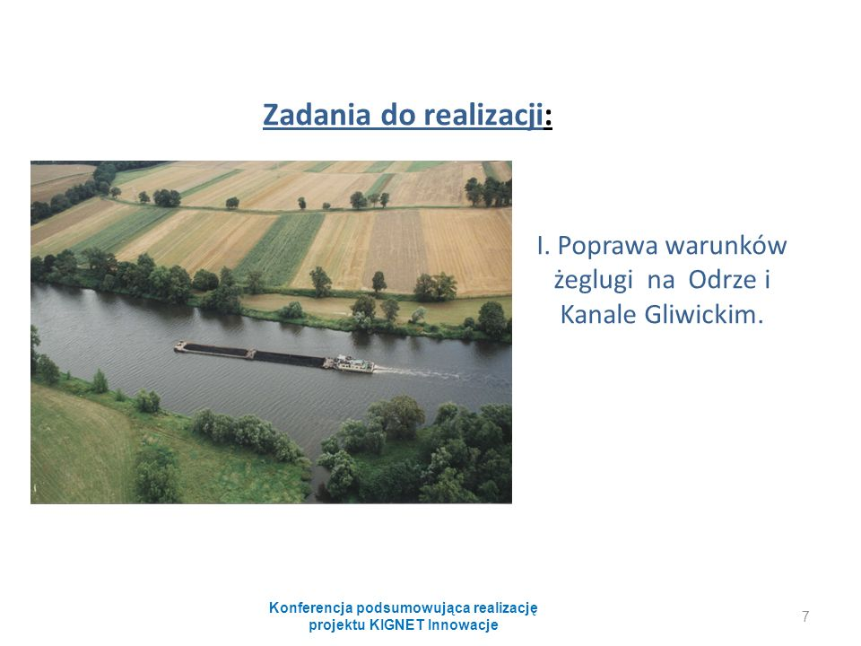 Zadania do realizacji: I. Poprawa warunków żeglugi na Odrze i Kanale Gliwickim.