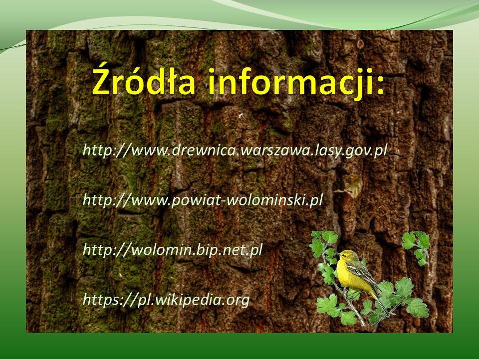 http://www.drewnica.warszawa.lasy.gov.pl http://www.powiat-wolominski.pl http://wolomin.bip.net.pl https://pl.wikipedia.org