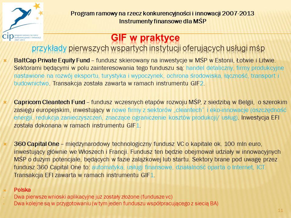  BaltCap Private Equity Fund – fundusz skierowany na inwestycje w MŚP w Estonii, Łotwie i Litwie. Sektorami będącymi w polu zainteresowania tego fund