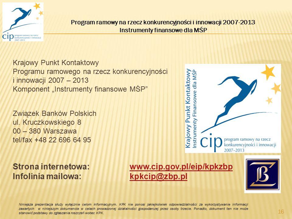 """Krajowy Punkt Kontaktowy Programu ramowego na rzecz konkurencyjności i innowacji 2007 – 2013 Komponent """"Instrumenty finansowe MŚP"""" Związek Banków Pols"""