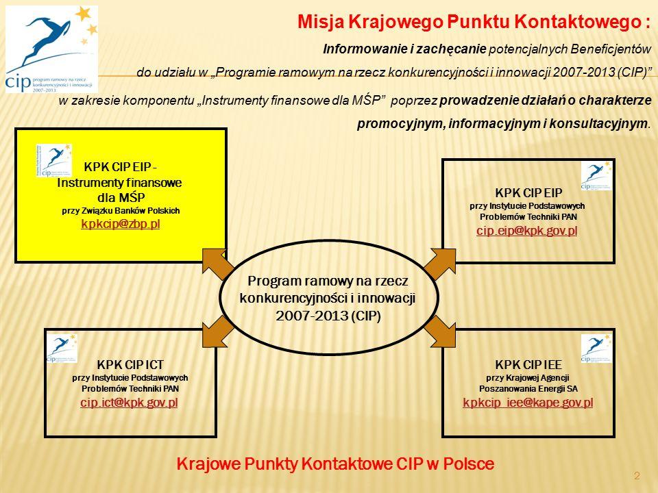 2 Krajowe Punkty Kontaktowe CIP w Polsce Program ramowy na rzecz konkurencyjności i innowacji 2007-2013 (CIP) KPK CIP EIP - Instrumenty finansowe dla