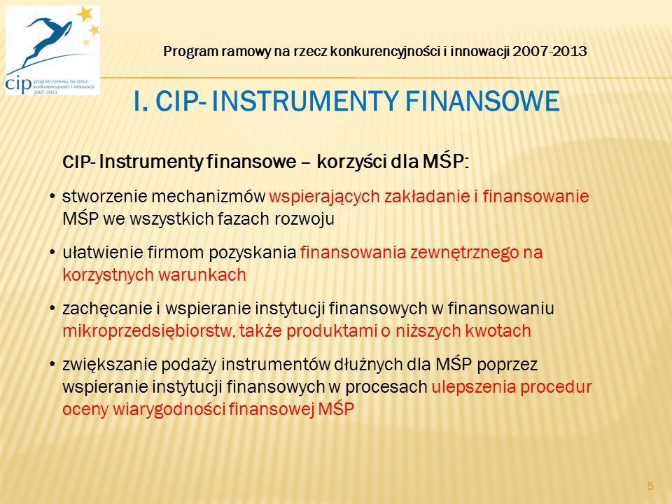 5 CIP- Instrumenty finansowe – korzyści dla MŚP: stworzenie mechanizmów wspierających zakładanie i finansowanie MŚP we wszystkich fazach rozwoju ułatw