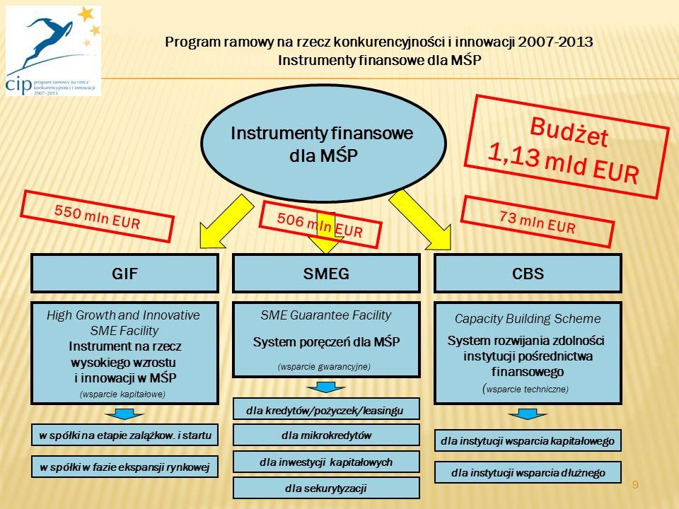 9 Instrumenty finansowe dla MŚP High Growth and Innovative SME Facility Instrument na rzecz wysokiego wzrostu i innowacji w MŚP (wsparcie kapitałowe) GIFCBSSMEG SME Guarantee Facility System poręczeń dla MŚP (wsparcie gwarancyjne) Capacity Building Scheme System rozwijania zdolności instytucji pośrednictwa finansowego ( wsparcie techniczne) Budżet 1,13 mld EUR 550 mln EUR Program ramowy na rzecz konkurencyjności i innowacji 2007-2013 Instrumenty finansowe dla MŚP 506 mln EUR 73 mln EUR dla kredytów/pożyczek/leasingu dla mikrokredytów dla inwestycji kapitałowych dla sekurytyzacji dla instytucji wsparcia kapitałowego dla instytucji wsparcia dłużnego w spółki w fazie ekspansji rynkowej w spółki na etapie zalążkow.