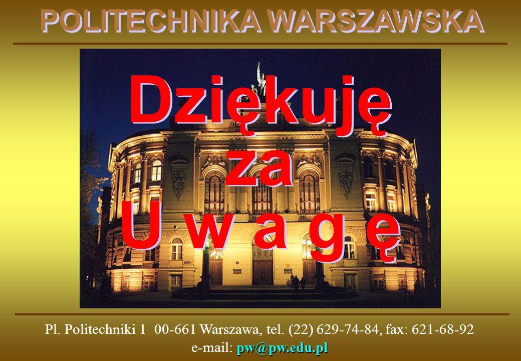 pw@pw.edu.pl Pl. Politechniki 1 00-661 Warszawa, tel. (22) 629-74-84, fax: 621-68-92 e-mail: pw@pw.edu.pl POLITECHNIKA WARSZAWSKA Dziękuję za U w a g