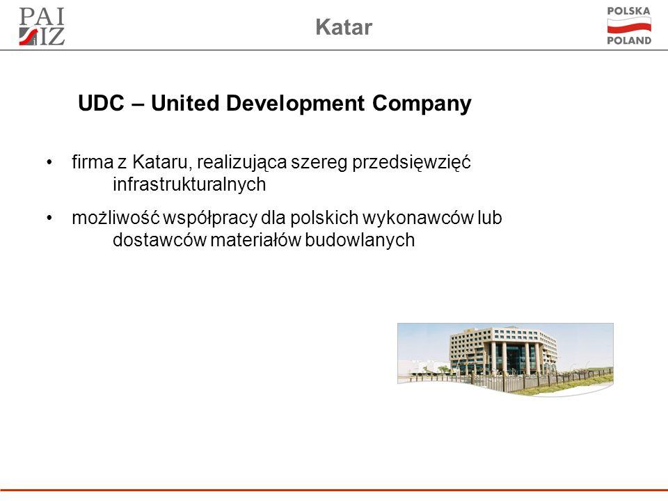 Katar firma z Kataru, realizująca szereg przedsięwzięć infrastrukturalnych możliwość współpracy dla polskich wykonawców lub dostawców materiałów budowlanych UDC – United Development Company