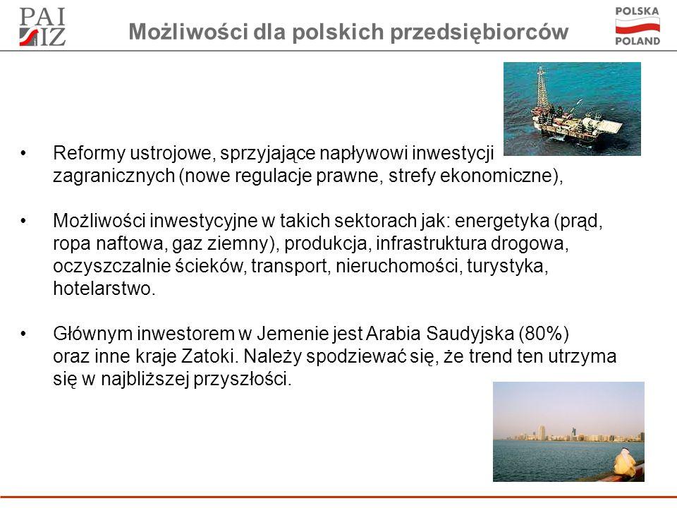 Możliwości dla polskich przedsiębiorców Reformy ustrojowe, sprzyjające napływowi inwestycji zagranicznych (nowe regulacje prawne, strefy ekonomiczne), Możliwości inwestycyjne w takich sektorach jak: energetyka (prąd, ropa naftowa, gaz ziemny), produkcja, infrastruktura drogowa, oczyszczalnie ścieków, transport, nieruchomości, turystyka, hotelarstwo.