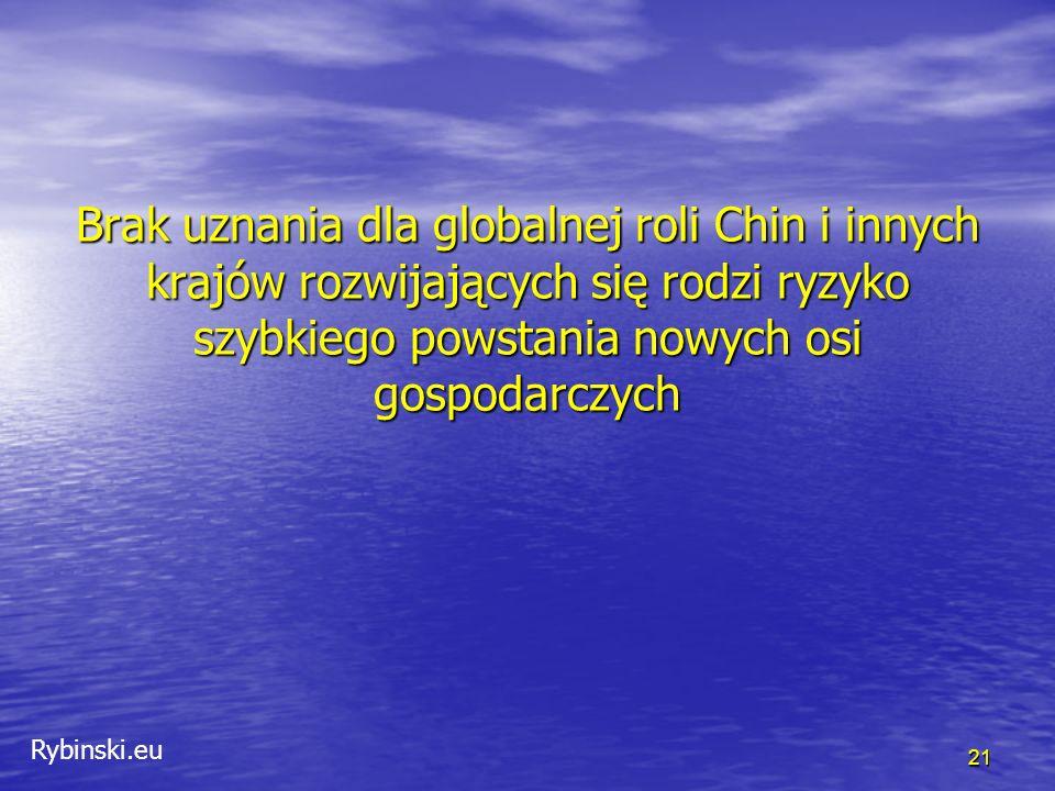 Rybinski.eu 21 Brak uznania dla globalnej roli Chin i innych krajów rozwijających się rodzi ryzyko szybkiego powstania nowych osi gospodarczych