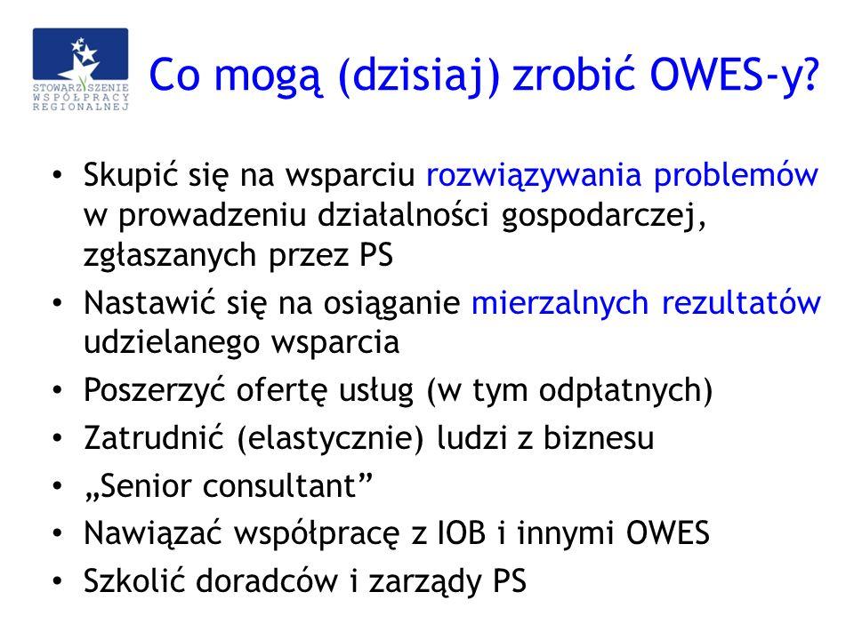 Co mogą (dzisiaj) zrobić OWES-y? Skupić się na wsparciu rozwiązywania problemów w prowadzeniu działalności gospodarczej, zgłaszanych przez PS Nastawić
