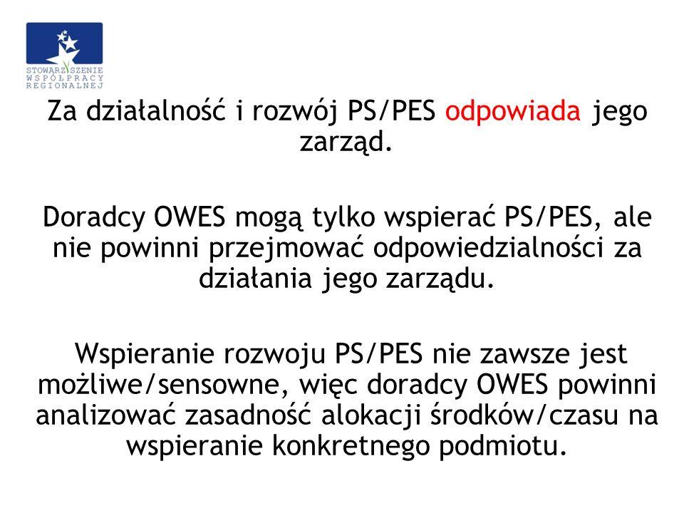 Za działalność i rozwój PS/PES odpowiada jego zarząd. Doradcy OWES mogą tylko wspierać PS/PES, ale nie powinni przejmować odpowiedzialności za działan