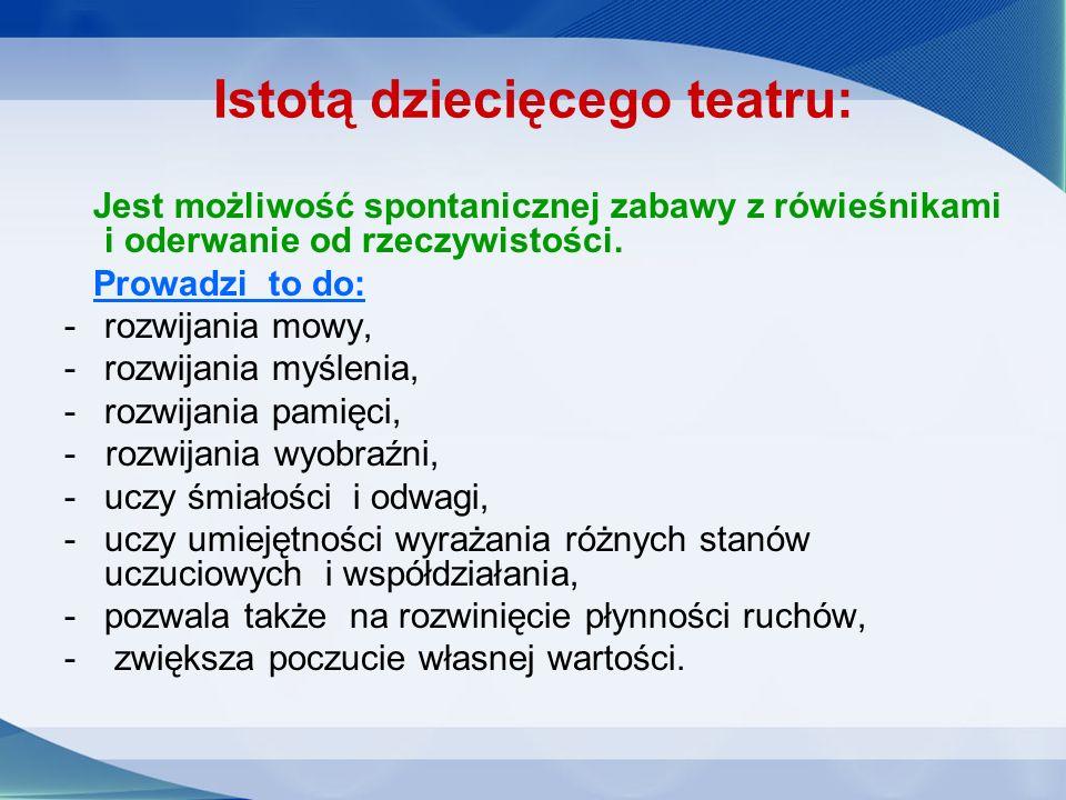 Zadaniem nauczyciela: wykorzystanie tej naturalnej aktywności, w różnych przemyślanych formach edukacji teatralnej.