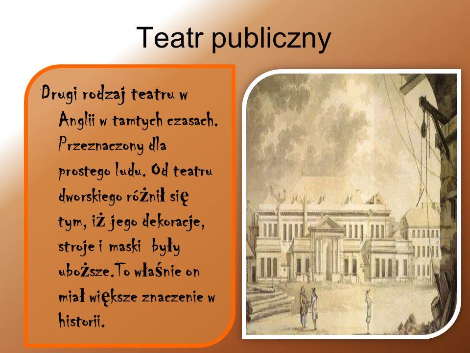 Teatr elżbietański w twórczości Szekspira William Szekspir- angielski poeta, dramaturg, aktor.