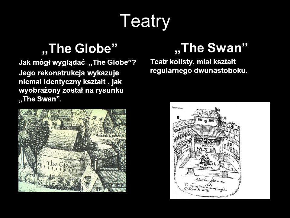 """Teatry """"The Globe"""" Jak mógł wyglądać """"The Globe""""? Jego rekonstrukcja wykazuje niemal identyczny kształt, jak wyobrażony został na rysunku """"The Swan""""."""