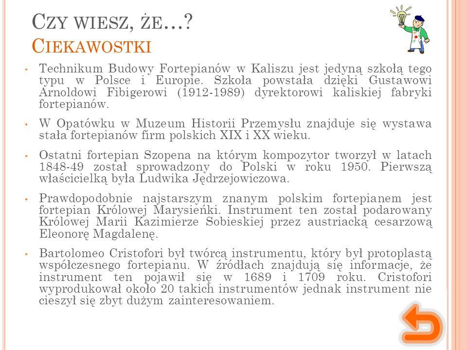 C ZY WIESZ, ŻE …? C IEKAWOSTKI Technikum Budowy Fortepianów w Kaliszu jest jedyną szkołą tego typu w Polsce i Europie. Szkoła powstała dzięki Gustawow