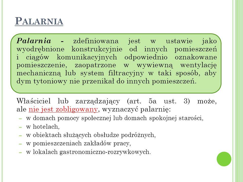P ALARNIA Palarnia - zdefiniowana jest w ustawie jako wyodrębnione konstrukcyjnie od innych pomieszczeń i ciągów komunikacyjnych odpowiednio oznakowan