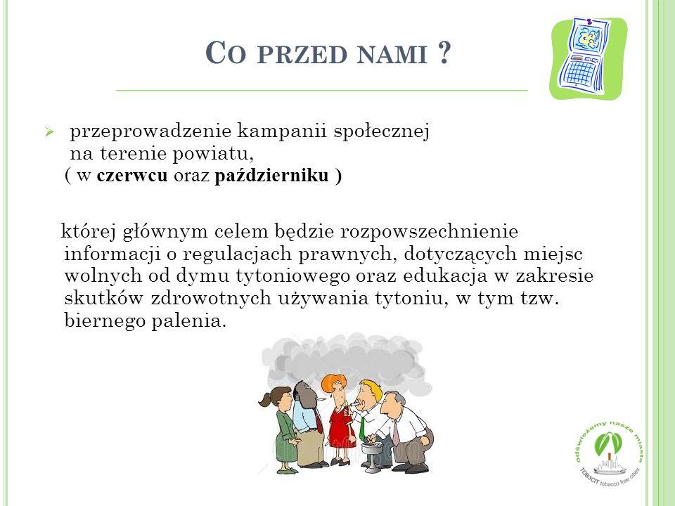 C O PRZED NAMI ?  przeprowadzenie kampanii społecznej na terenie powiatu, ( w czerwcu oraz październiku ) której głównym celem będzie rozpowszechnien