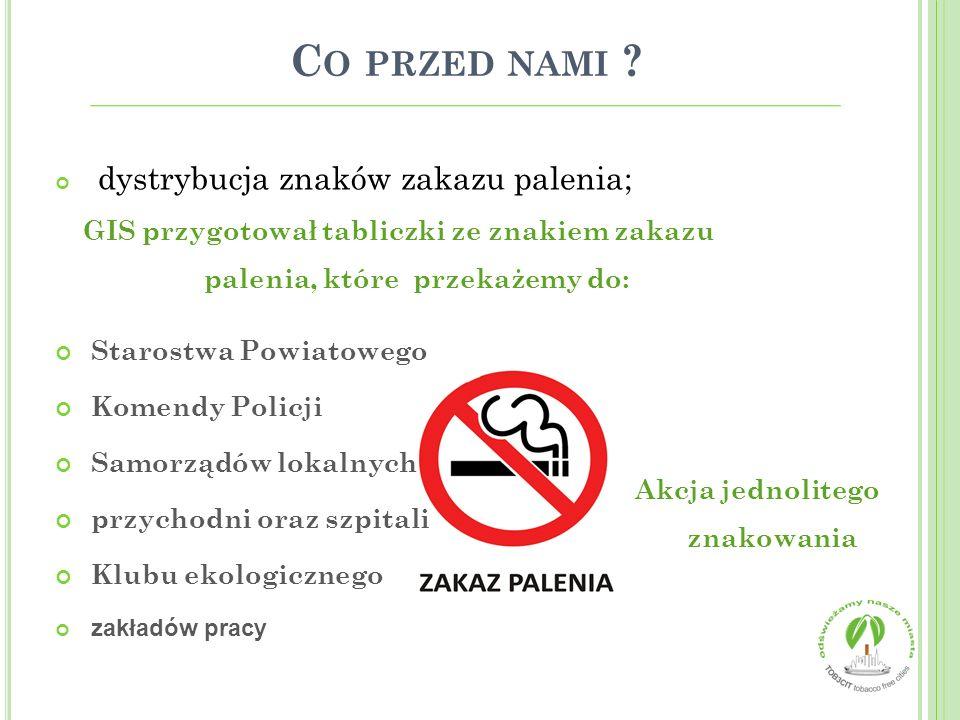 C O PRZED NAMI ? dystrybucja znaków zakazu palenia; GIS przygotował tabliczki ze znakiem zakazu palenia, które przekażemy do: Starostwa Powiatowego Ko