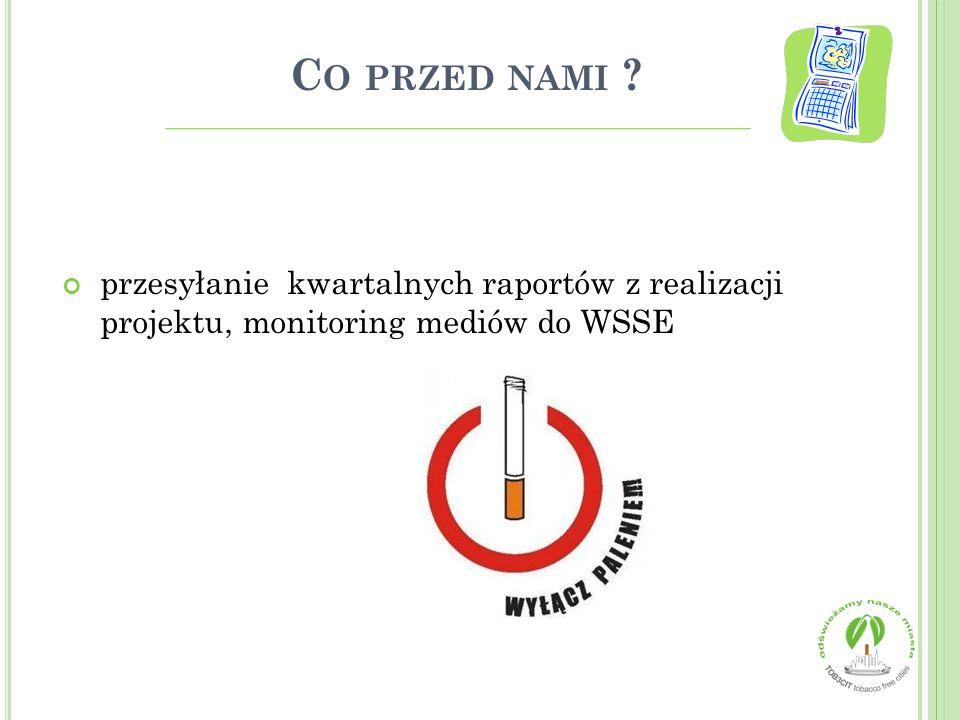 C O PRZED NAMI ? przesyłanie kwartalnych raportów z realizacji projektu, monitoring mediów do WSSE