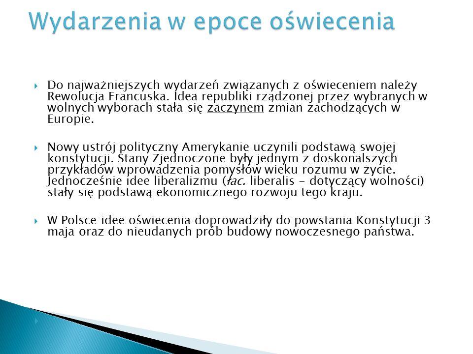  Oświecenie w Polsce można podzielić na trzy fazy:  Fazy oświecenia w Polsce.