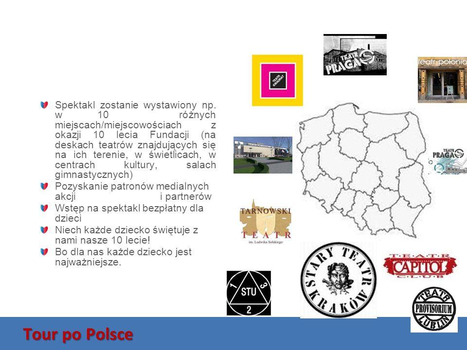 Tour po Polsce Spektakl zostanie wystawiony np. w 10 różnych miejscach/miejscowościach z okazji 10 lecia Fundacji (na deskach teatrów znajdujących się