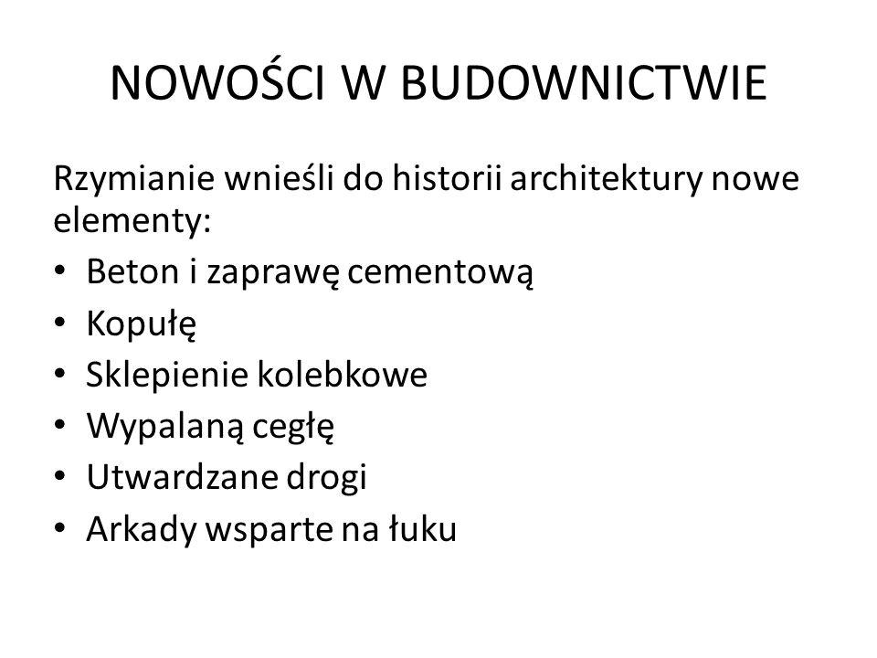 NOWOŚCI W BUDOWNICTWIE Rzymianie wnieśli do historii architektury nowe elementy: Beton i zaprawę cementową Kopułę Sklepienie kolebkowe Wypalaną cegłę