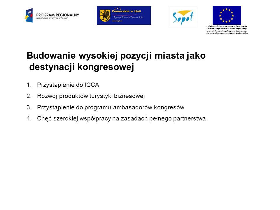 Projekt współfinansowany przez Unię Europejską z Europejskiego Funduszu Rozwoju Regionalnego w ramach Regionalnego Programu Operacyjnego dla Województwa Pomorskiego na lata 2007-2013 Budowanie wysokiej pozycji miasta jako destynacji kongresowej 1.Przystąpienie do ICCA 2.Rozwój produktów turystyki biznesowej 3.Przystąpienie do programu ambasadorów kongresów 4.Chęć szerokiej współpracy na zasadach pełnego partnerstwa