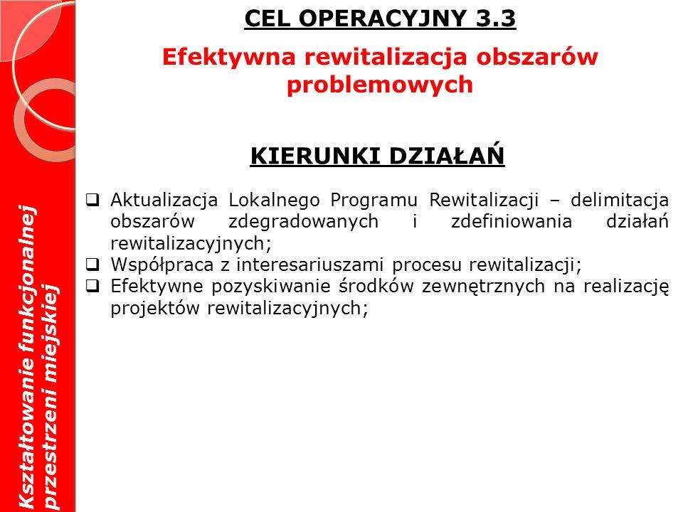 CEL OPERACYJNY 3.3 Efektywna rewitalizacja obszarów problemowych KIERUNKI DZIAŁAŃ  Aktualizacja Lokalnego Programu Rewitalizacji – delimitacja obszarów zdegradowanych i zdefiniowania działań rewitalizacyjnych;  Współpraca z interesariuszami procesu rewitalizacji;  Efektywne pozyskiwanie środków zewnętrznych na realizację projektów rewitalizacyjnych; Kształtowanie funkcjonalnej przestrzeni miejskiej