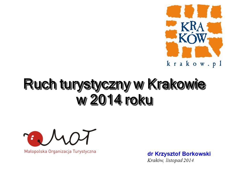 Ruch turystyczny w Krakowie w 2014 roku Kraków grudzień 2003 dr Krzysztof Borkowski Kraków, listopad 2014