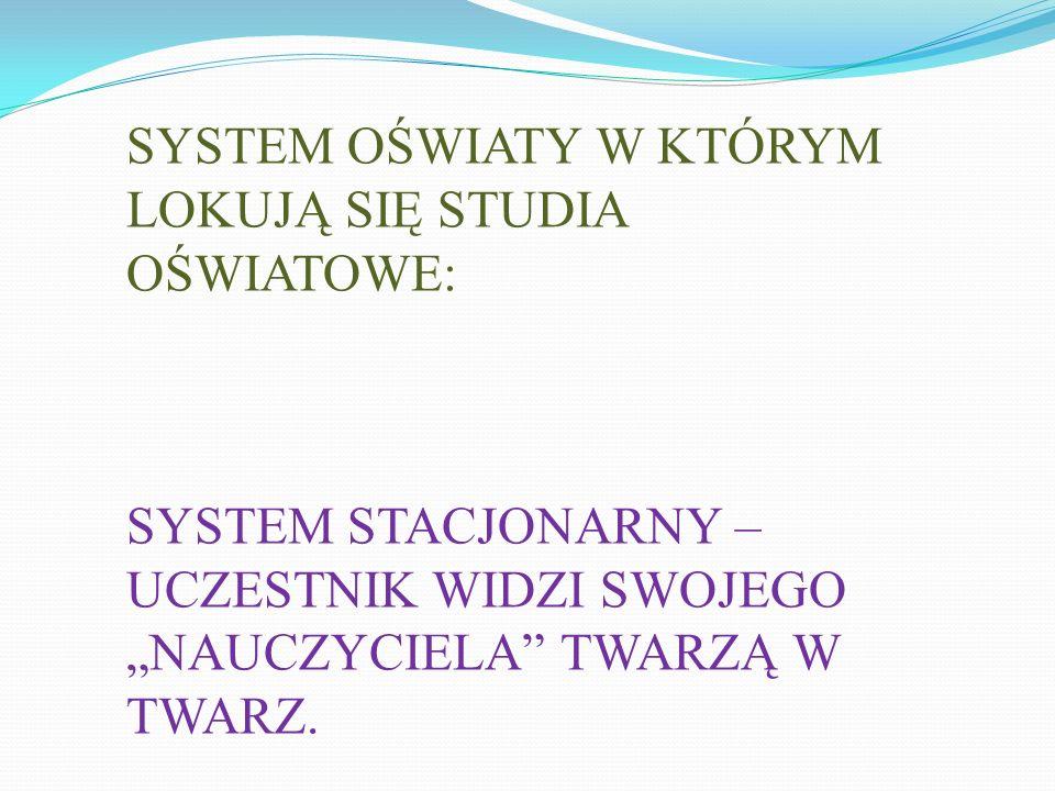 """SYSTEM OŚWIATY W KTÓRYM LOKUJĄ SIĘ STUDIA OŚWIATOWE: SYSTEM STACJONARNY – UCZESTNIK WIDZI SWOJEGO """"NAUCZYCIELA"""" TWARZĄ W TWARZ."""