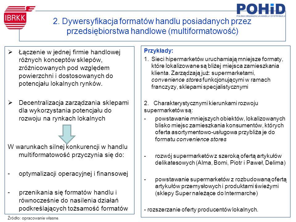 2. Dywersyfikacja formatów handlu posiadanych przez przedsiębiorstwa handlowe (multiformatowość)  Łączenie w jednej firmie handlowej różnych konceptó