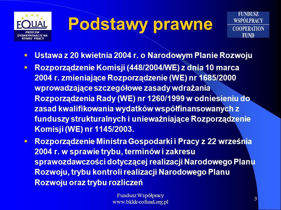 Fundusz Współpracy www.bkkk-cofund.org.pl 3 Podstawy prawne  Ustawa z 20 kwietnia 2004 r.