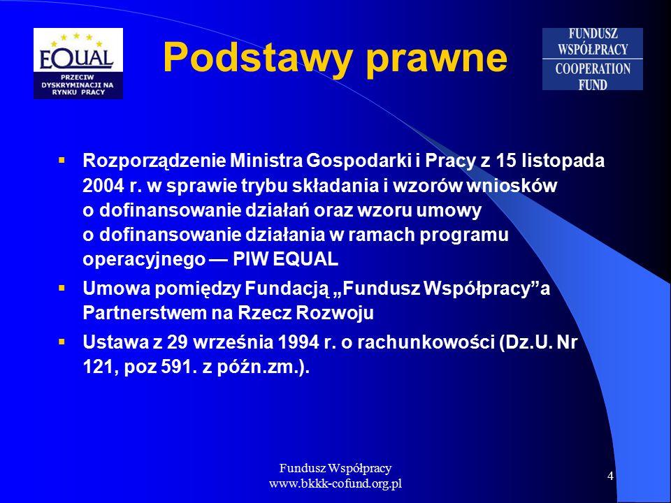 Fundusz Współpracy www.bkkk-cofund.org.pl 4 Podstawy prawne  Rozporządzenie Ministra Gospodarki i Pracy z 15 listopada 2004 r.