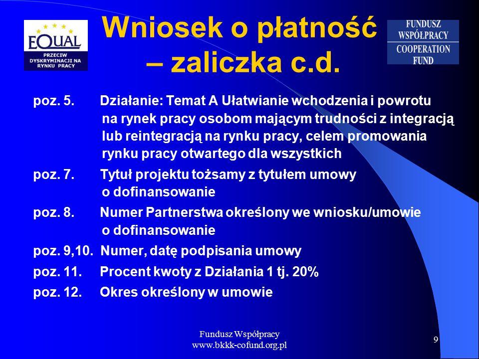 Fundusz Współpracy www.bkkk-cofund.org.pl 9 Wniosek o płatność – zaliczka c.d.