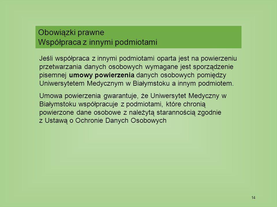 14 Jeśli współpraca z innymi podmiotami oparta jest na powierzeniu przetwarzania danych osobowych wymagane jest sporządzenie pisemnej umowy powierzenia danych osobowych pomiędzy Uniwersytetem Medycznym w Białymstoku a innym podmiotem.