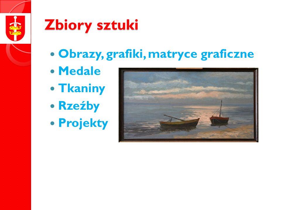 Zbiory sztuki Obrazy, grafiki, matryce graficzne Medale Tkaniny Rzeźby Projekty
