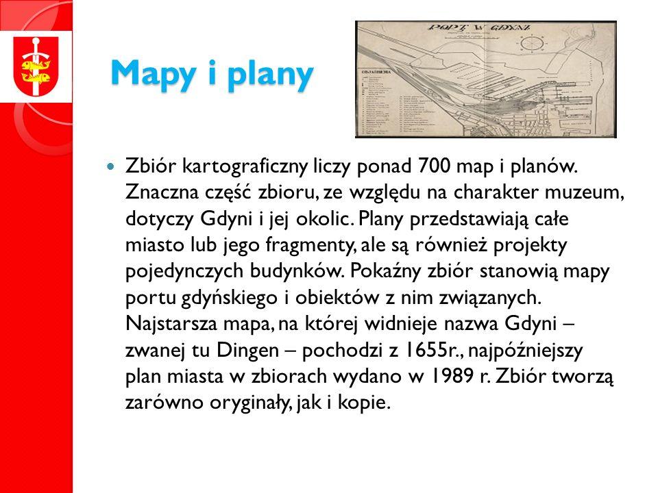 Mapy i plany Zbiór kartograficzny liczy ponad 700 map i planów.