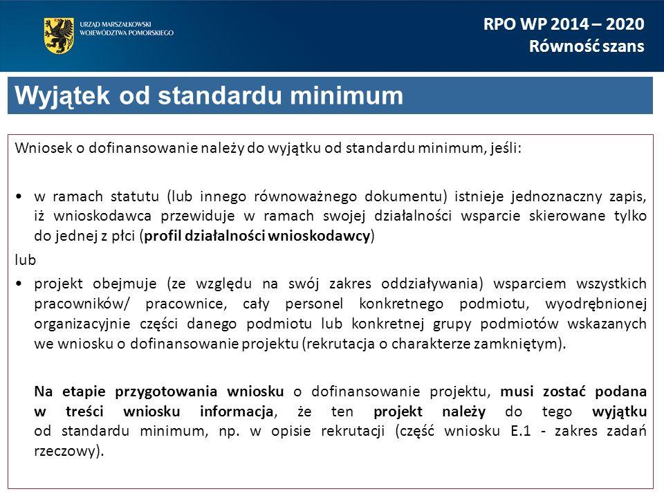 Wniosek o dofinansowanie należy do wyjątku od standardu minimum, jeśli: w ramach statutu (lub innego równoważnego dokumentu) istnieje jednoznaczny zap
