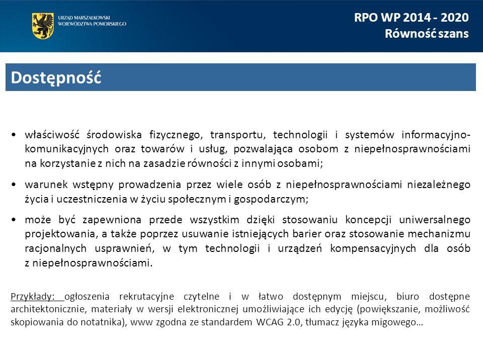 właściwość środowiska fizycznego, transportu, technologii i systemów informacyjno- komunikacyjnych oraz towarów i usług, pozwalająca osobom z niepełno