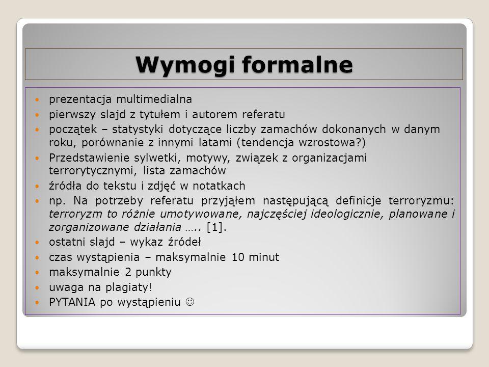 Wymogi formalne prezentacja multimedialna pierwszy slajd z tytułem i autorem referatu początek – statystyki dotyczące liczby zamachów dokonanych w dan