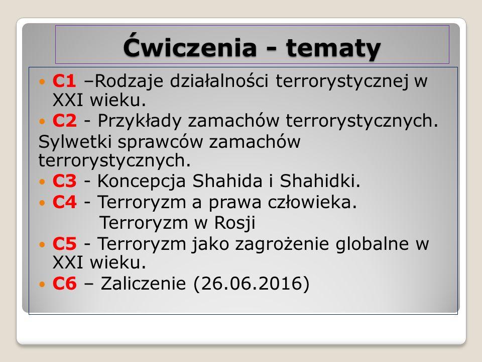 Ćwiczenia - tematy C1 –Rodzaje działalności terrorystycznej w XXI wieku. C2 - Przykłady zamachów terrorystycznych. Sylwetki sprawców zamachów terrorys
