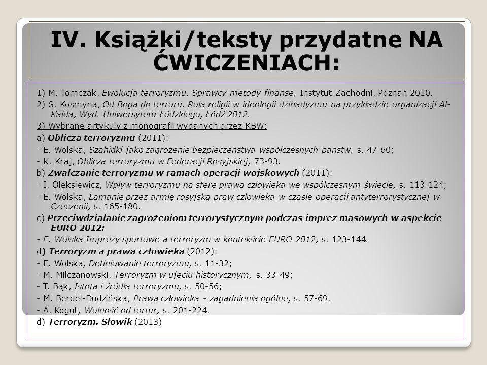 1) M.Tomczak, Ewolucja terroryzmu. Sprawcy-metody-finanse, Instytut Zachodni, Poznań 2010.